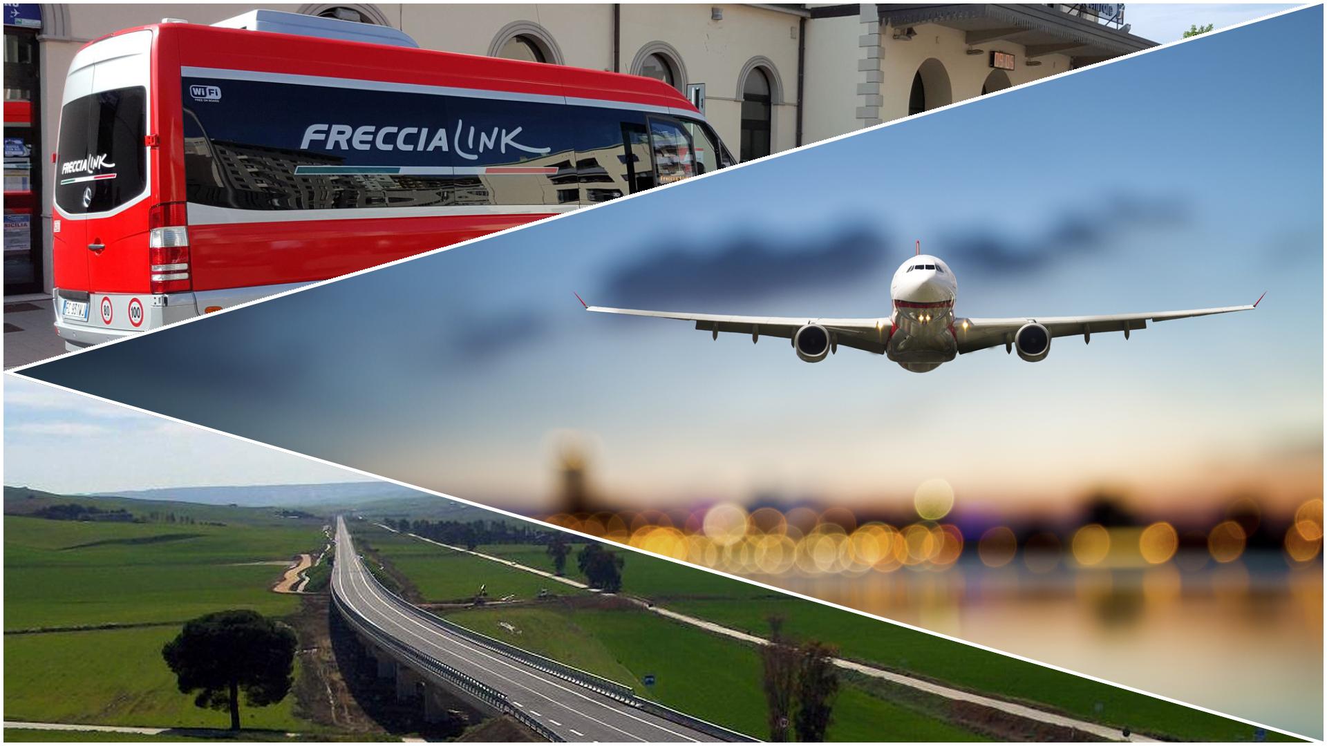 """Sei su: Come arrivare a Matera. Immagine tripartita con autobus freccialink, aereo in atterraggio, vista della SS655 """"Bradanica""""."""